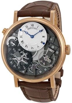 Breguet Tradition GMT Manual Skeletal Dial Leather Men's Watch