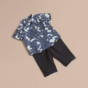 Burberry Short-sleeve Beasts Print Cotton Shirt