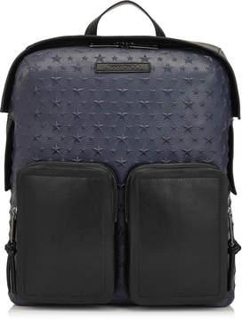Jimmy Choo LENNOX Ink Embossed Stars on Grainy Leather Backpack