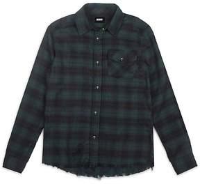 Hudson Boys' Frayed Plaid Shirt - Big Kid