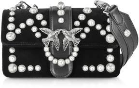 Pinko Mini Love Velvet Pearls Shoulder Bag