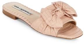 Karl Lagerfeld Paris Women's Rosie Snakeskin-Embossed Leather Slides