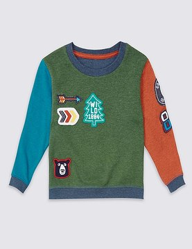 Marks and Spencer Badge Detail Sweatshirt (3 Months - 5 Years)