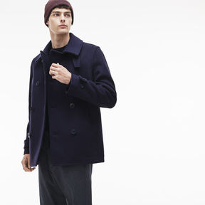 Lacoste Men's Buttoned Wool Broadcloth Pea Coat