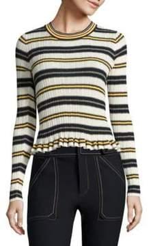 Derek Lam 10 Crosby Ruffled Striped Rib-Knit Sweater
