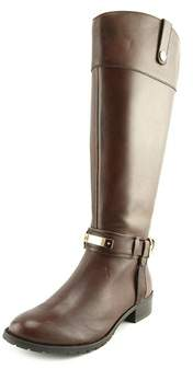 INC International Concepts Fabbaa Wide Calf Women Leather Brown Knee High Boot.