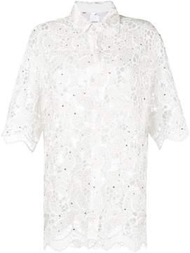Ashish lace leaf longline shirt