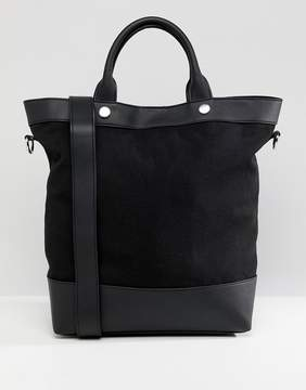 Asos DESIGN canvas and pu mix shopper bag