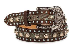 Ariat Brown & Light Blue Nailhead Leather Belt