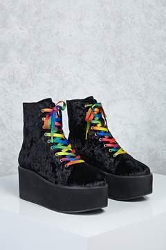 Forever 21 Velvet Platform Boots
