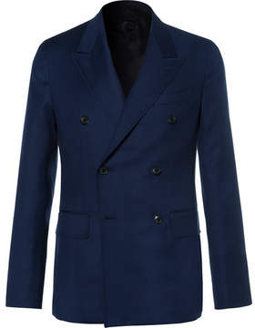 Caruso Blue Butterfly Slim-Fit Double-Breasted Wool-Hopsack Blazer