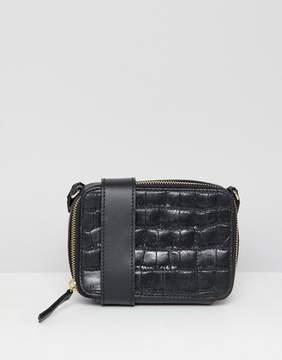Asos DESIGN leather croc camera bag with internal purse