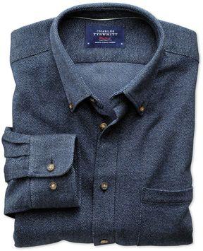 Charles Tyrwhitt Slim Fit Dark Blue Donegal Cotton Casual Shirt Single Cuff Size XXL