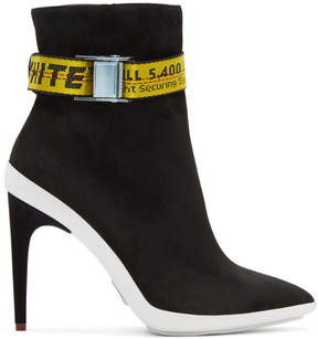 Off-White Black Suede Pointed Ankle Boots