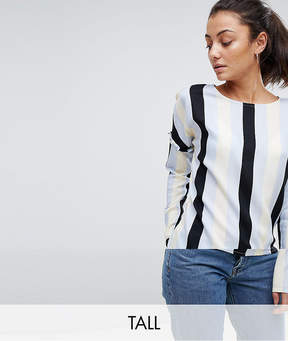 Noisy May Tall Stripe Blouse With Frill Detail