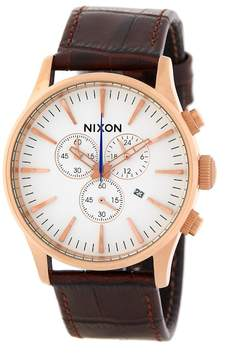 Nixon Men's Sentry Chrono Croc Embossed Leather Strap Watch, 42mm