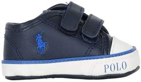 Ralph Lauren Embroidered Logo Nappa Leather Sneakers