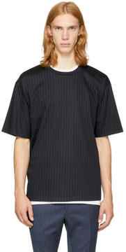 3.1 Phillip Lim Navy Pinstripe Box Cut T-Shirt