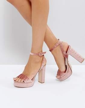 Dune London Morisey Velvet Platform Heeled Sandals