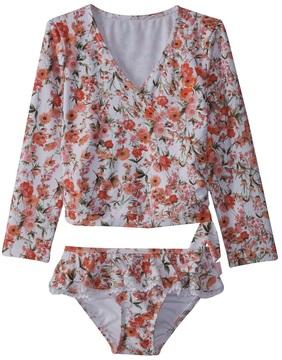 Seafolly Toddler Girl's Wild Poppy Ballet Long Sleeve Rashie Set (27) - 8158935