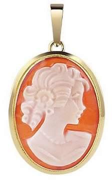 Del Gatto Young Lady w/Curls Cornelian Cameo Pendant