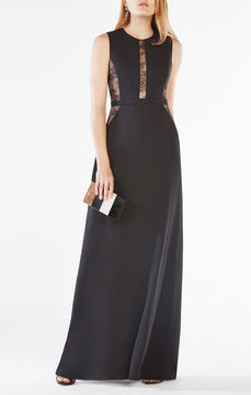 BCBGMAXAZRIA Ashlee Lace-Paneled Satin Gown