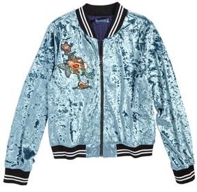 Truly Me Girl's Embellished Velvet Bomber Jacket