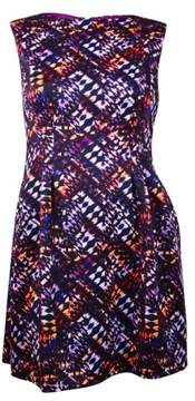 Vince Camuto Women's Printed Pleated Dress (14, Multi)