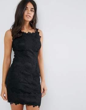 AX Paris Black Mini Dress With Lattice Crochet Detail