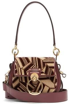 Chloé Tess Geometric Print Leather Cross Body Bag - Womens - Burgundy Multi