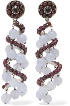 Bottega Veneta Oxidized Silver, Chalcedony And Cubic Zirconia Earrings