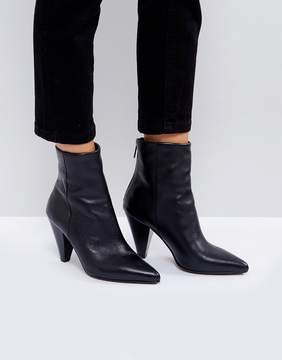 Asos ELODIE Leather Cone Heel Boots