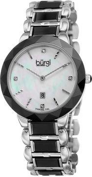 Burgi Unisex Silver Tone Bracelet Watch-B-147bk