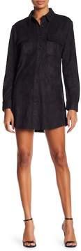 David Lerner Micro Suede Shirt Dress