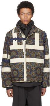 Craig Green Tan and Navy Block Print Jacket