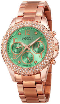 August Steiner Womens Rose Goldtone Strap Watch-As-8136gn