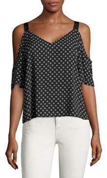 Calvin Klein Jeans Printed Cold-Shoulder Top