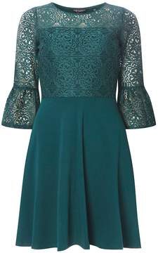 Dorothy Perkins Green Lace Overlay Fit and Flare Dress