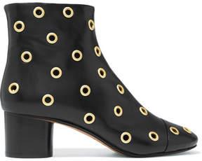 Isabel Marant Danay Eyelet-embellished Leather Ankle Boots - Black