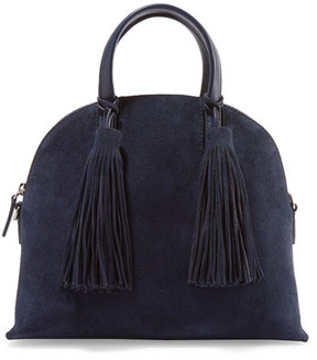 Loeffler Randall - Dome Leather-trimmed Suede Satchel - Midnight blue
