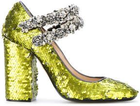 No.21 sequins embellished pumps