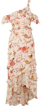 Rachel Zoe Jillian One-shoulder Floral-print Silk-georgette Midi Dress - Pastel pink