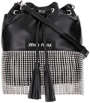 Miu Miu black crystal embellished leather bucket bag