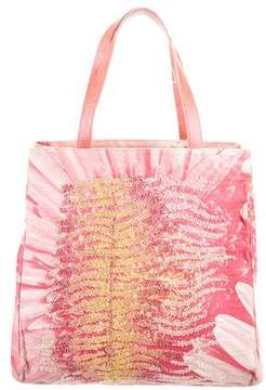 Roberto Cavalli Bead Embroidered Canvas Tote