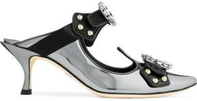 Dolce & Gabbana Cutout Embellished Mirrored-leather Mules - Gunmetal