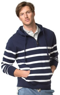 Chaps Big & Tall Classic-Fit Engineer-Striped Terry Quarter-Zip Hoodie