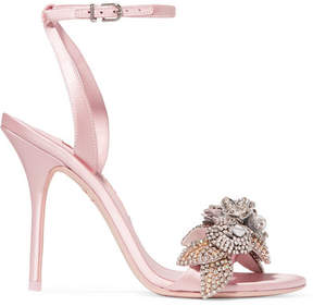 Sophia Webster Lilico Crystal-embellished Satin Sandals - Baby pink
