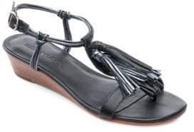 Bernardo Court Leather Demi Wedge Sandals