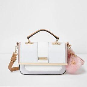 River Island Womens White pom pom cross body satchel bag