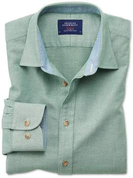 Charles Tyrwhitt Classic Fit Washed Textured Mid Green Cotton Casual Shirt Single Cuff Size Large